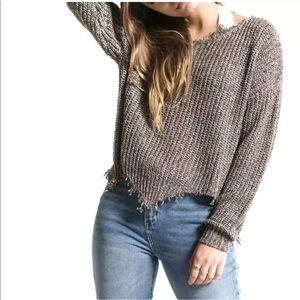 WHITE CROW Sweater Frayed Raw Neckline Hem Gray